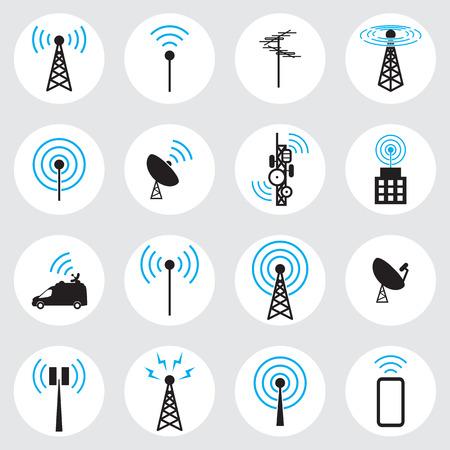 antenna: Antenna icon set Illustration