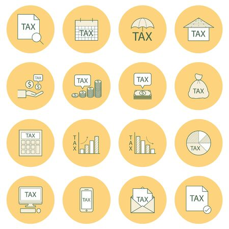 paying bills: tax icon,line vector