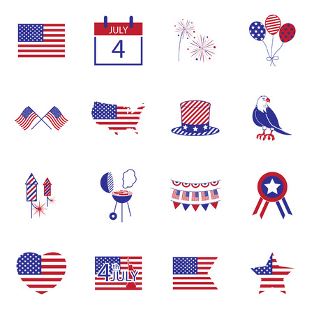 insignias: Feliz independencia iconos línea día Estados Unidos de América, 4 de julio,
