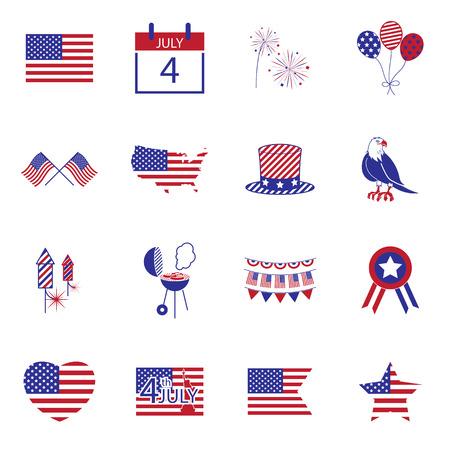 Gelukkige onafhankelijkheidsdag lijn iconen Verenigde Staten van Amerika, 4 th van juli, Stock Illustratie
