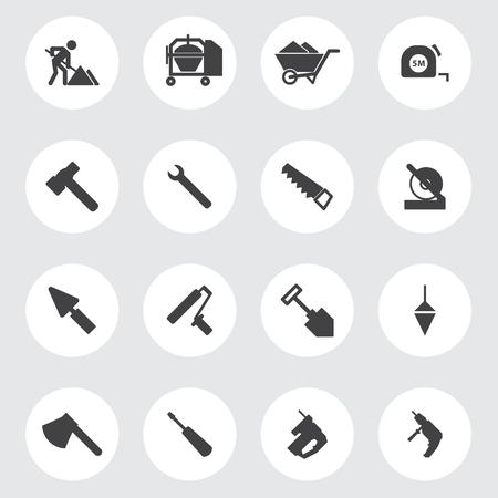 warning saw: Construction tools Icons set