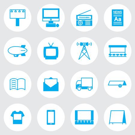 mobile advertising: Advertising icon line Set