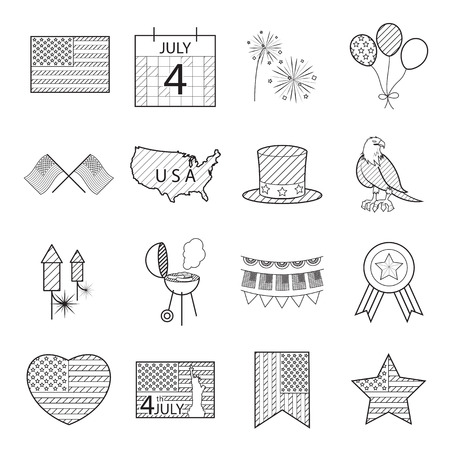 heart sketch: Happy independence day line icons United States of America, 4 th of July,