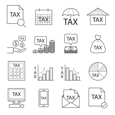 impuestos: icono de impuestos, línea vectorial