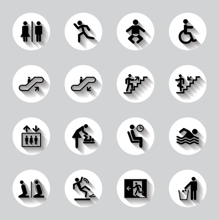 Babie: Public men signs vector set Illustration