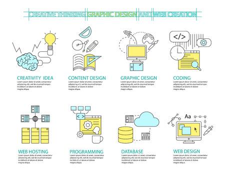 フラット ライン アイコン ・ インフォ グラフィック デザイン コンセプト創造的な概念とデザインのセット