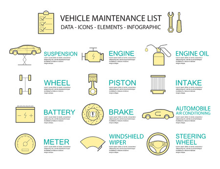 racing wheel: Set of Flat line icon & infographic design concept  car service  ,element