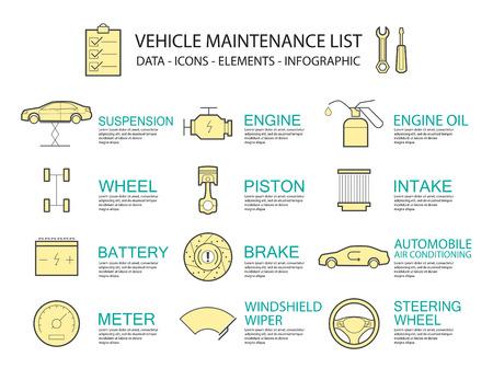 Set of Flat line icon & infographic design concept  car service  ,element