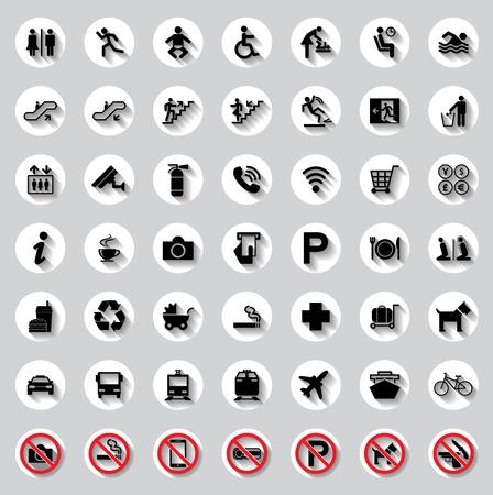 Public circle signs vector set Vectores