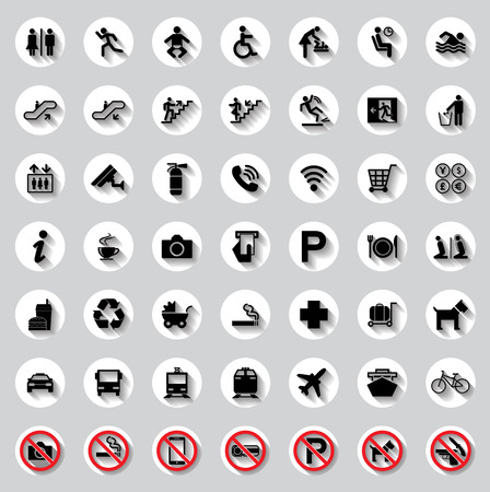 rubbish cart: Public circle signs vector set Illustration