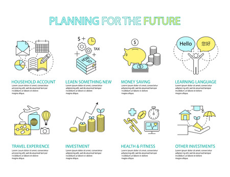 money management: Set of Flat line icon & infographic design concept Planning the future