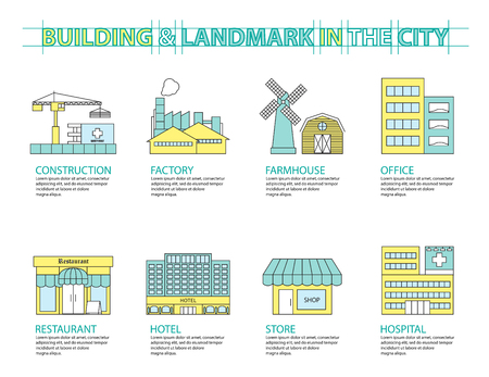 office construction: Set of Flat line icon & infographic design concept, Buildings landmark city 02
