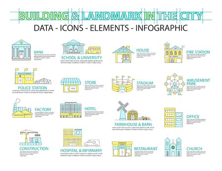 city icon: Set of Flat line icon & infographic design concept,Buildings landmark city