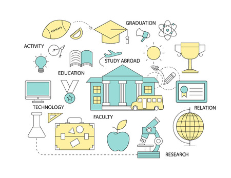 abroad: Set of Flat line icon & infographic design concept ,education