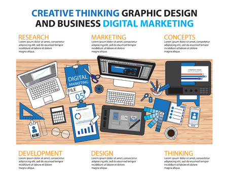 graphic artist: Workplace of designer with devices for work,Flat designed banners for creative project, graphic design development, business, Vector