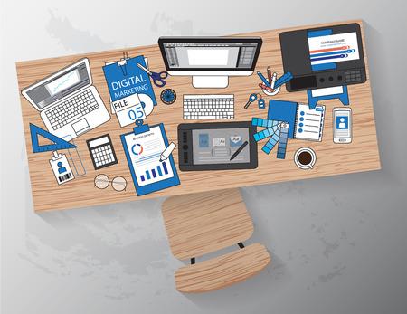 작업 장치와 디자이너의 작업 환경은, 평면 창조적 인 프로젝트, 그래픽 디자인 개발, 사업, 벡터 배너 디자인