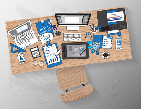 Workplace of designer with devices for work,Flat designed banners for creative project, graphic design development, business, Vector