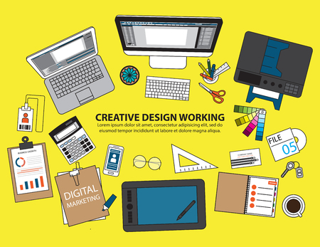 designer at work: Workplace of designer with devices for work,Flat designed banners for creative project, graphic design development, business, finance. Vector