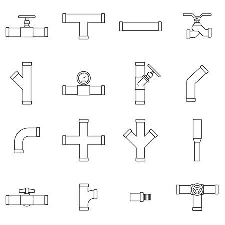 Pipe and Valve icon set  イラスト・ベクター素材