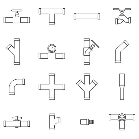natural gas: Pipe and Valve icon set Illustration