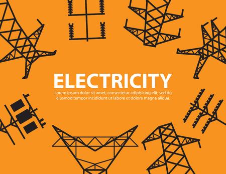 electricidad industrial: poste eléctrico, equipo de fondo de alta tensión