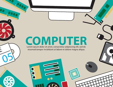 computer desk: desk computer hardware ,vector Background Illustration
