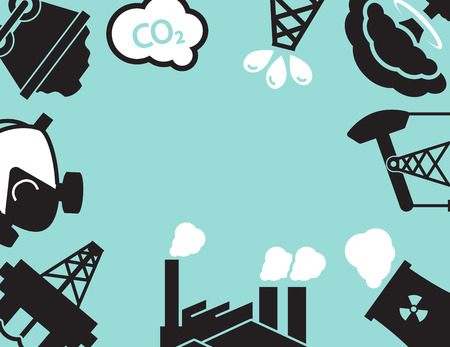 polluted cities: Industrial  Plant or factory. Ecology.Pollution. Illustration
