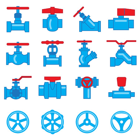 handles: Valve and Taps icon set Illustration