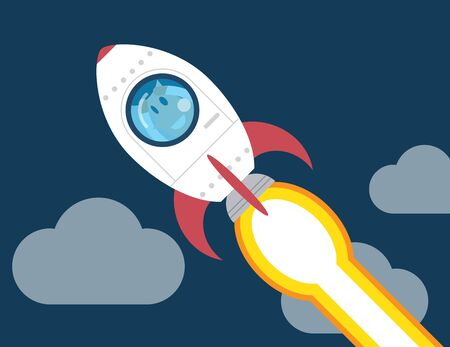 fly: Startup Business. business plan idea concept Businessman on a rocket
