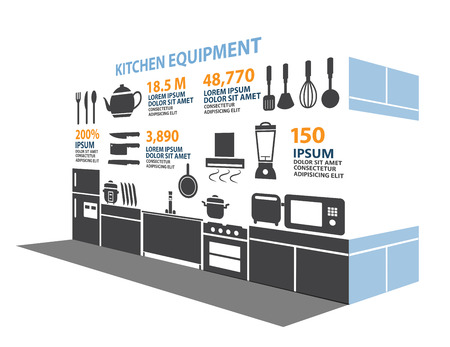 gas stove: Kitchen Room Icon Infographic Elements Illustration