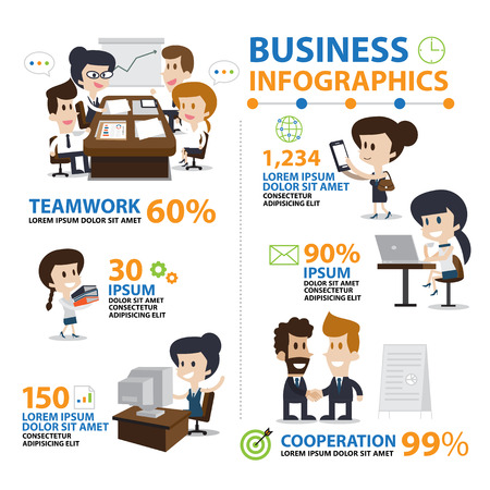 cartoon present: Infographic Office and Business, Lifestyle vector