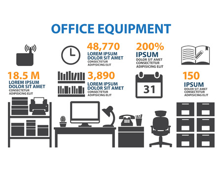 office icon: Office icon Set Infographic Illustration