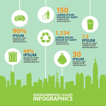 waste products: city info graphic,Environmental Protection and ecology vector