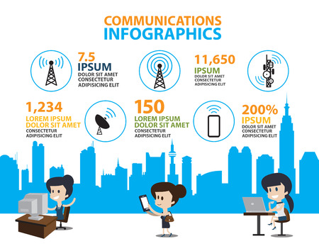 wireless communication: Set of Flat line icon & infographic design concept,communication in the global computer city