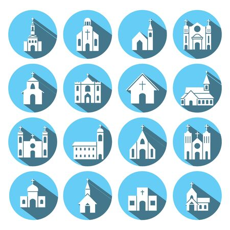 church building: church building icon vector set Illustration
