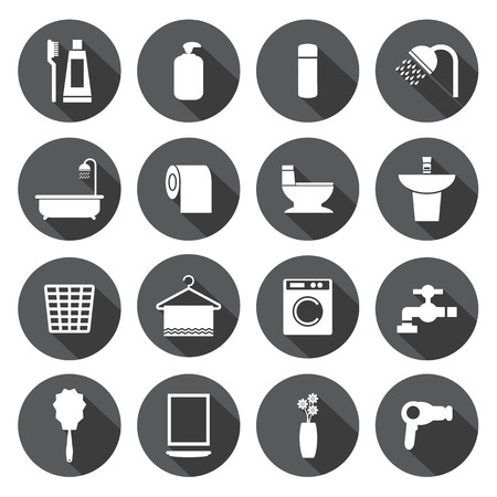 cleaning bathroom: Bathroom icons set
