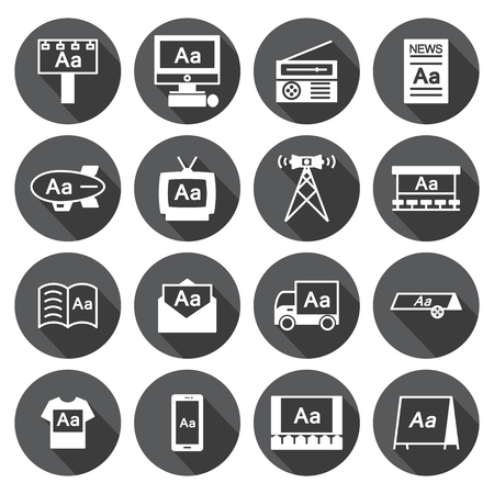 advertisers: Advertising icon  Set,circular Labels