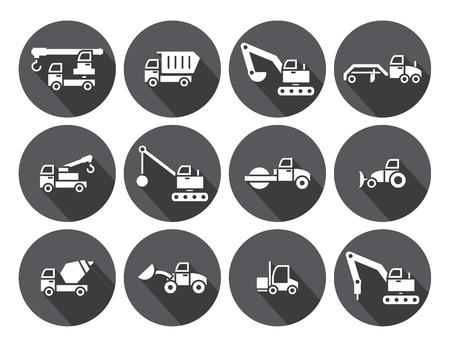 Construction Truck set,circular Labels