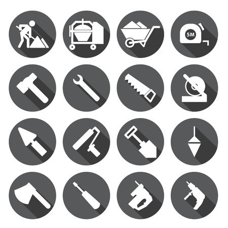 warning saw: Construction tools Icons set,circular Labels Illustration