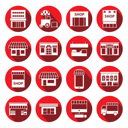 store ,shop and building icon set ,circular Labels Vectores
