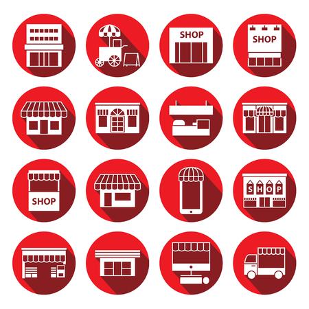 cabina telefonica: almacén, tienda y juego de construcción icono, etiquetas circulares Vectores