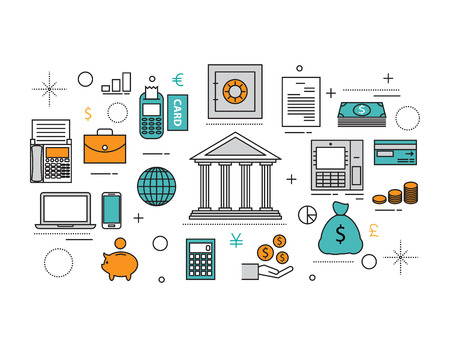 funds: Set of Flat line icon & infographic design concept, financial planning document, market research analysis, money investing elements. banking online