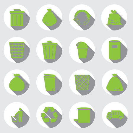 plastic waste: trashcan icon set