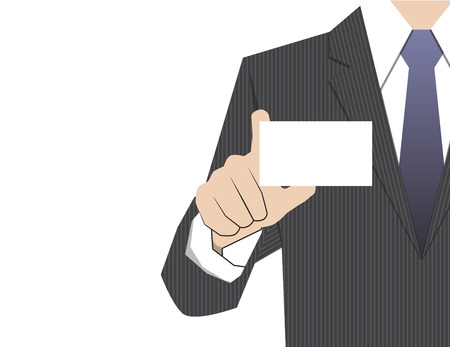 company name: Man showing business card,vector