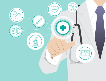 medical technology: Medicine doctor  working with modern virtual technology, hand touching interface as medical concept Illustration