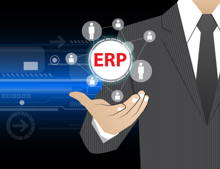 systems: Concept Businessman in his hands ,ERP (or Enterprise Resource Planning) Illustration