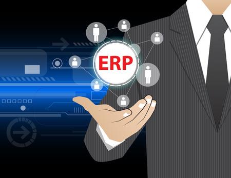sistemas: El hombre de negocios concepto en sus manos, ERP (o Enterprise Resource Planning)