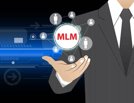mlm: Concept Businessman in his hands ,MLM