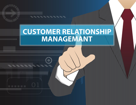 relationship management: Businessman working with modern virtual technology, hand touching Customer Relationship Management (or CRM)