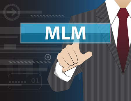 mlm: Businessman working with modern virtual technology, hand touching MLM (Multi Level Marketing)